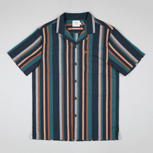 FARAH Bloomfield Short Sleeve Revere Striped Shirt in BOTTLE GREEN