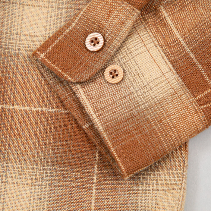 Bowery Long Sleeve Flannel Shirt in COPPER