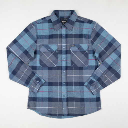 Bowery Long Sleeve Flannel Shirt in NAVY & CAROLINA BLUE