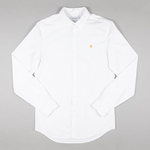 FARAH Brewer Slim Fit Shirt in WHITE
