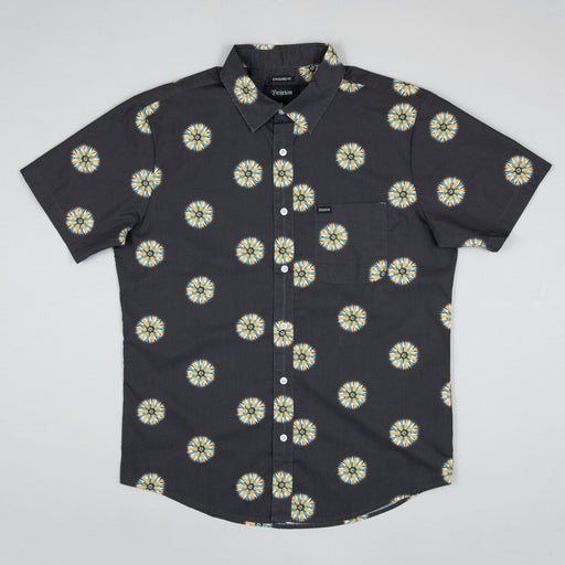 BRIXTON Charter Print Short Sleeve Woven Shirt in BLACK & SILVER