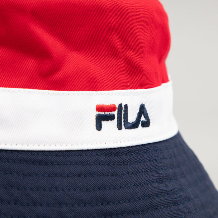 FILA Butler Bucket Hat in PEACOAT, WHITE & CHINESE RED