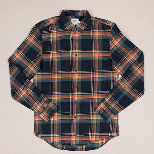 Butterfield Long Sleeve Check Shirt in BOTTLE GREENFARAH - CACTWS