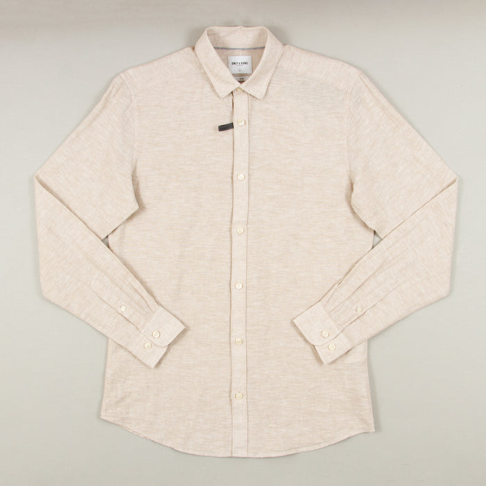 Caiden Solid Linen Shirt in CHINCHILLAONLY AND SONS - CACTWS