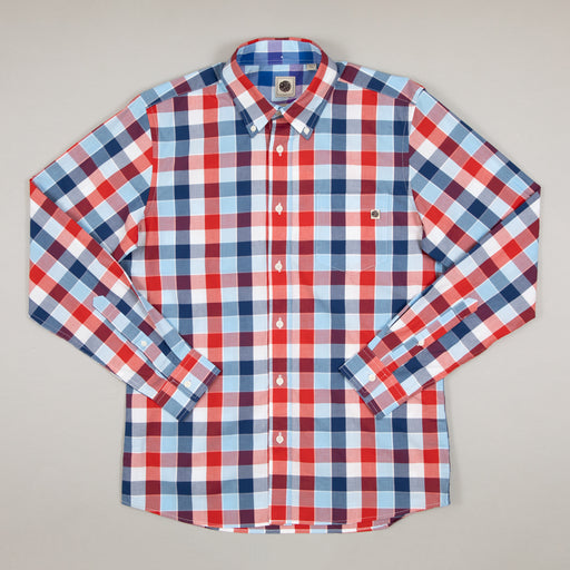 Classic Fit Check Long Sleeve Shirt in NAVYPRETTY GREEN - CACTWS