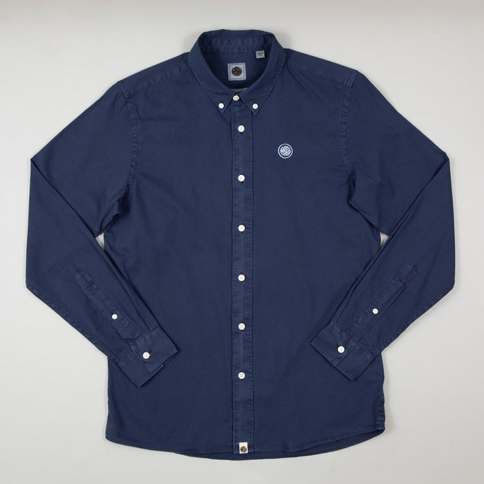 Edward Classic Fit Garment Dye Shirt in NAVYPRETTY GREEN - CACTWS