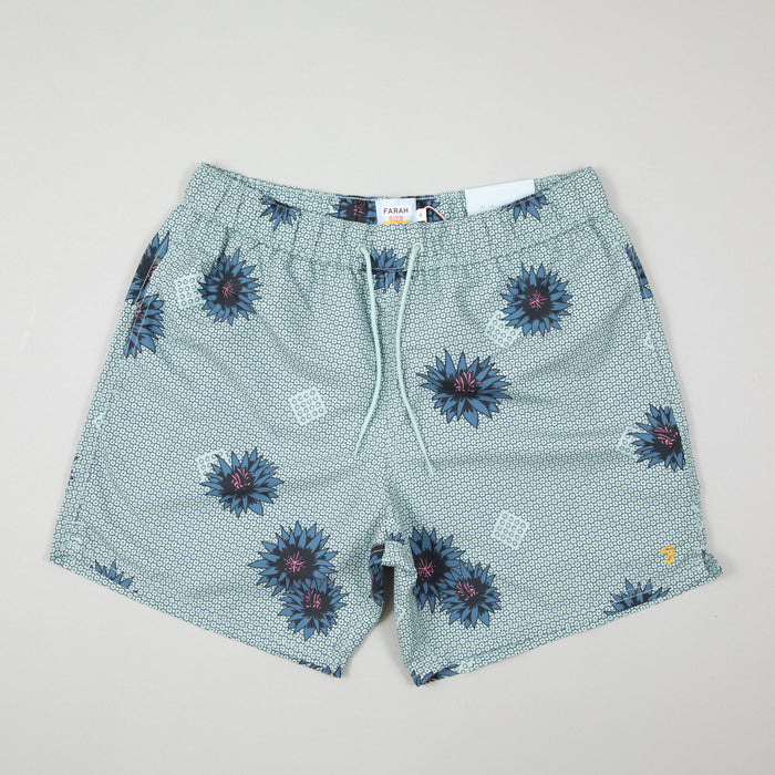 Colbert Floral Print Swim Shorts in GREEN MISTFARAH - CACTWS