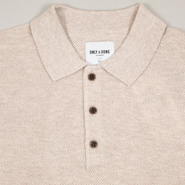 Dix Short Sleeve Structured Polo Knit in CHINCHILLAONLY AND SONS - CACTWS