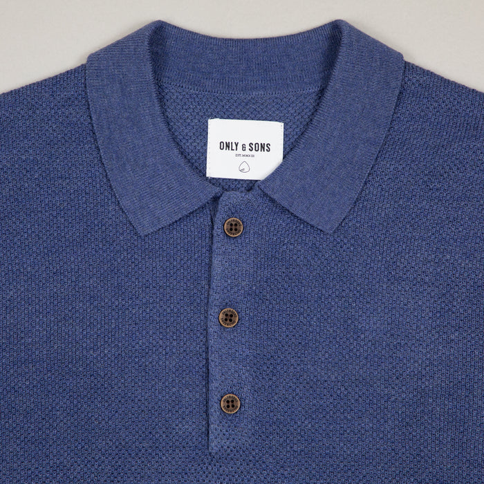 Dix Short Sleeve Structured Polo Knit in CLEMATIS BLUEONLY AND SONS - CACTWS