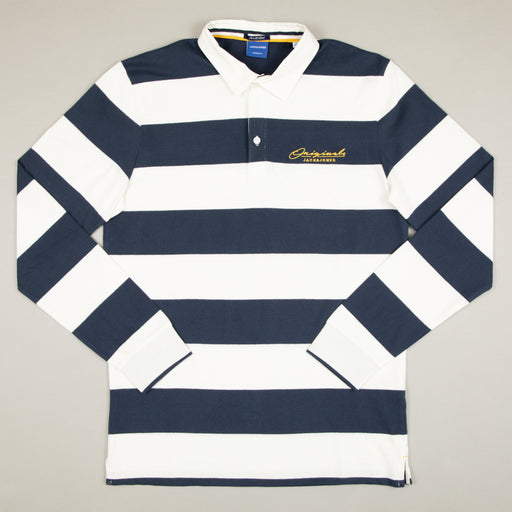 JACK & JONES Duke Rugby Polo Long Sleeve in CLOUD DANCER
