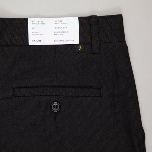 FARAH Elm Regular Fit Cotton Hopsack Trousers in BLACK
