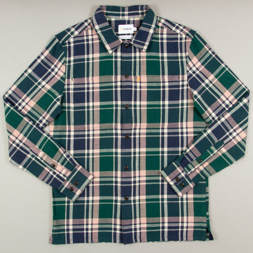 Bewlay Long Sleeve Check Shirt in BRIGHT EMERALDFARAH - CACTWS