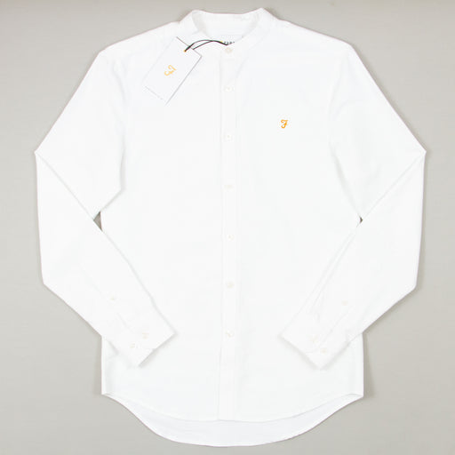 Brewer Slim Fit Long Sleeve Grandad in WHITEFARAH - CACTWS