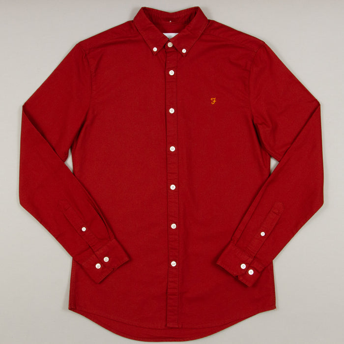 Brewer Slim Fit Long Sleeve Shirt in BURNT RED