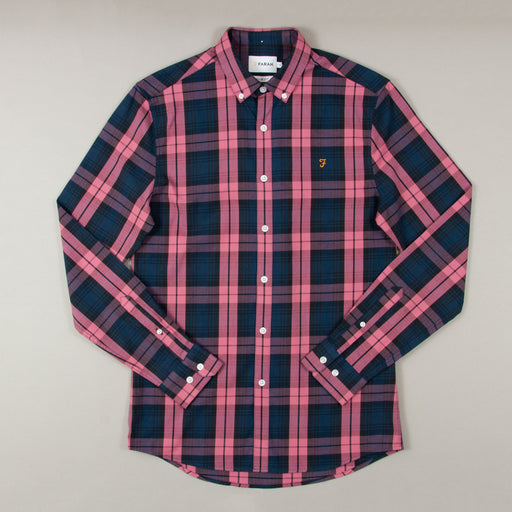 Brewer Tartan Slim Fit Long Sleeve Shirt in DUSTY ROSEFARAH - CACTWS