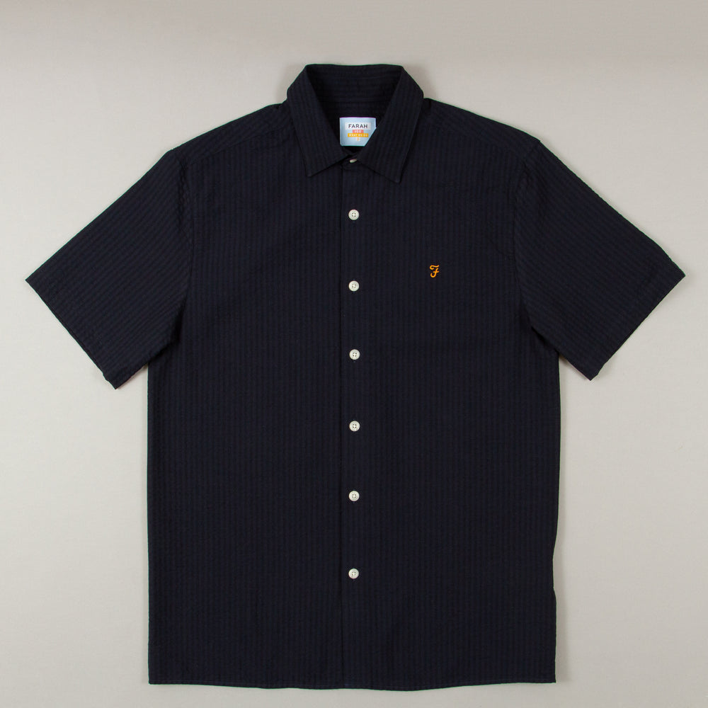 Hudspeth Seersucker Short Sleeve Shirt in TRUE NAVYFARAH - CACTWS
