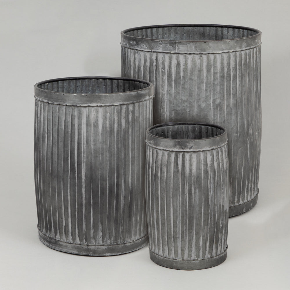 FREESIA Vintage Style Zinc Flower Pot (Set of 3)