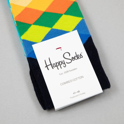 Faded Diamond Socks in NAVY, BLUE & YELLOWHAPPY SOCKS - CACTWS