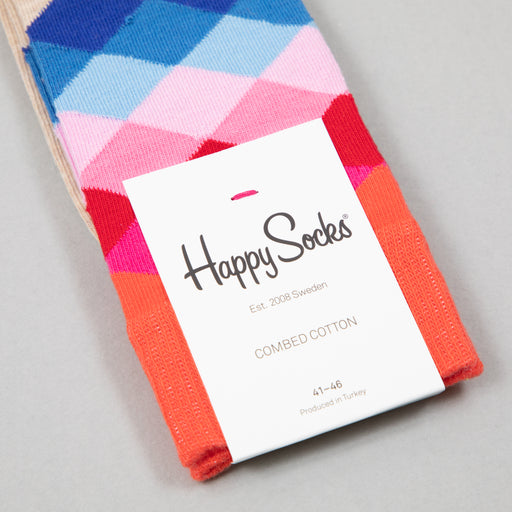 Faded Diamond Socks in ORANGE, GREY & PINKHAPPY SOCKS - CACTWS