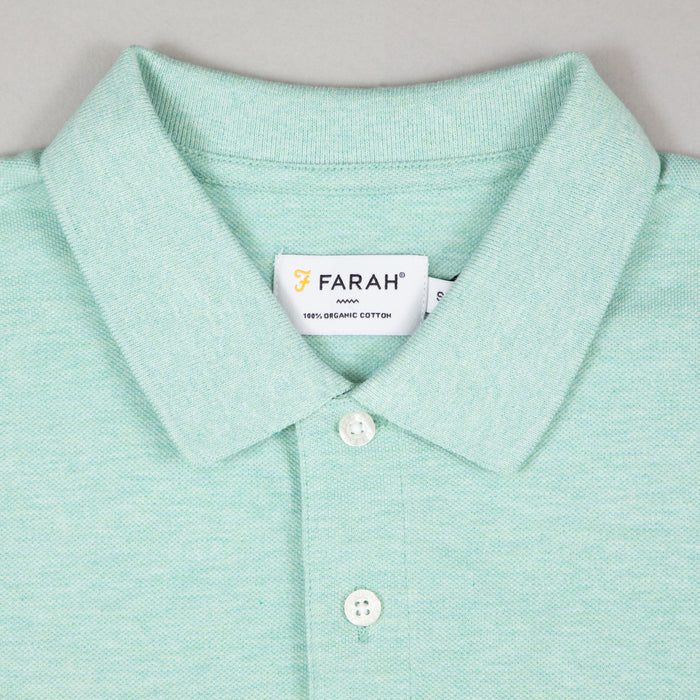 FARAH Blanes Short Sleeve Polo Shirt in GREEN CREST MARL