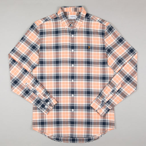 FARAH Brewer Check Shirt in PEACH SOLSTICE