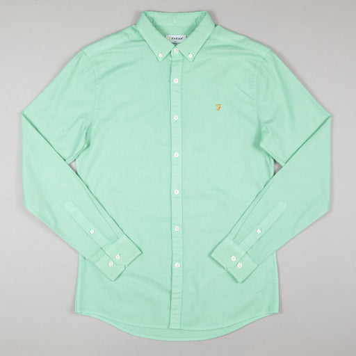FARAH Brewer Garment Dye Long Sleeve Shirt in GREEN CREST