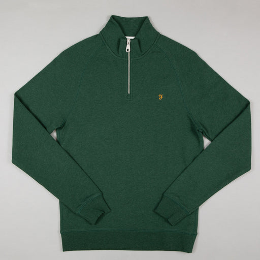 FARAH Jim Quarter Zip Sweater in CEDAR GREEN MARL