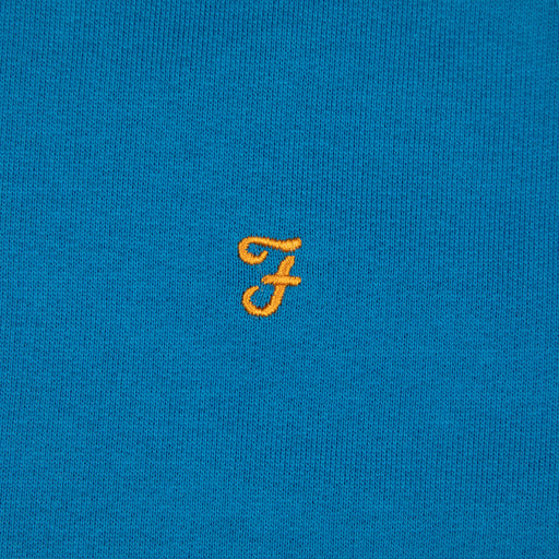 FARAH Jim Quarter Zip Sweater in MARITIME BLUE