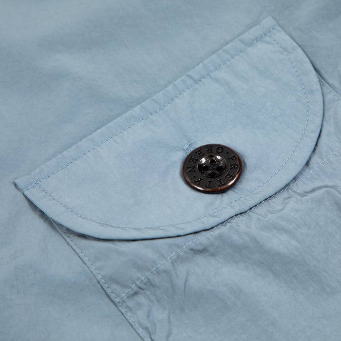 Metallic Two Pocket Zip Through Overshirt in BLUEPRETTY GREEN - CACTWS