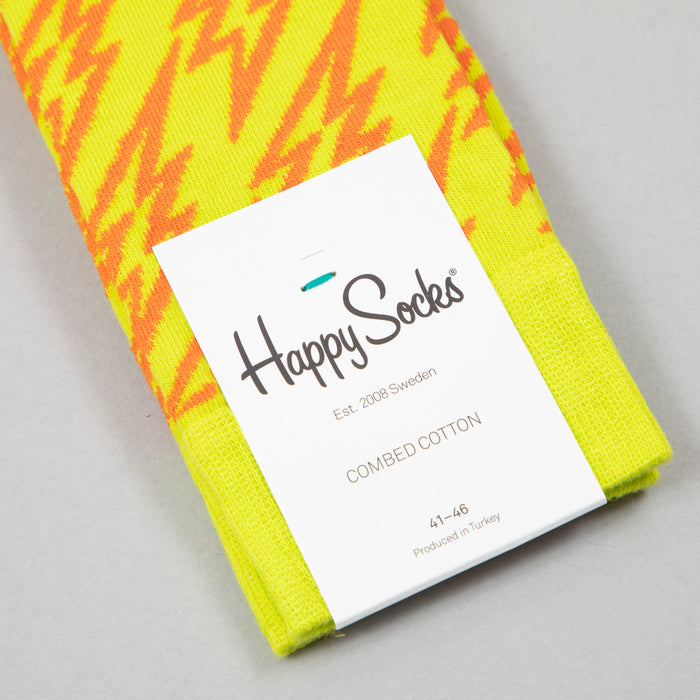 Flash Lightning Socks in LIME GREEN & ORANGEHAPPY SOCKS - CACTWS