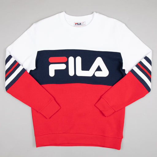 Freddo Colour Block Heritage Stripe Sweatshirt in WHITE, CHINESE RED & PEACOAT