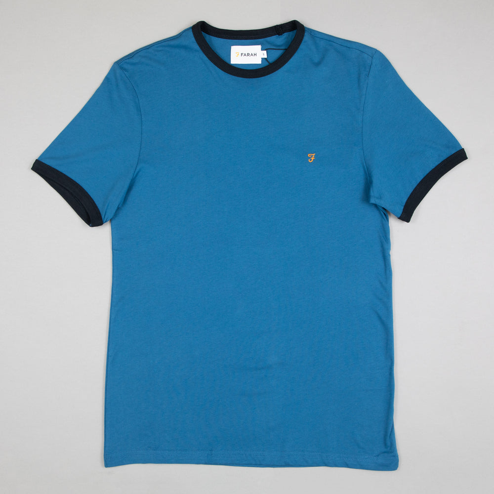 FARAH Groves Ringer Tee in FARAH BLUE