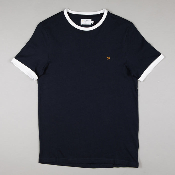 FARAH Groves Ringer Tee in TRUE NAVY