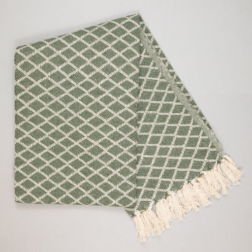 LIGHT & LIVING ARABE Honey Plaid Pattern Throw in GREEN