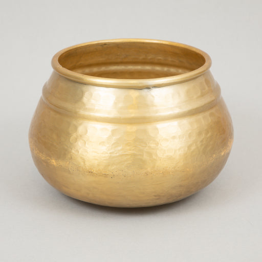 Hammered Aluminium Flower Pot in BRASS