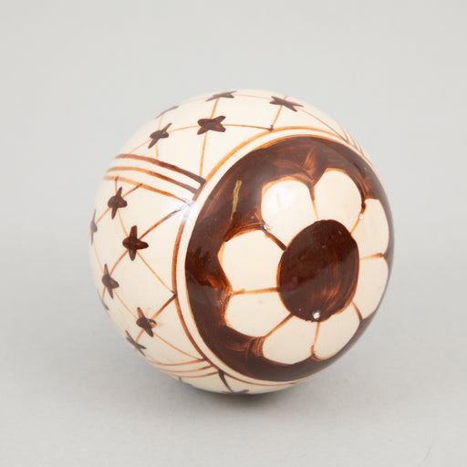 Hand Decorated Stoneware Ball 10cm in BROWN