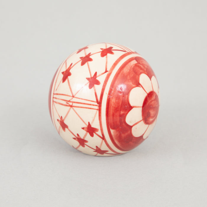 Hand Decorated Stoneware Ball 8cm in RED