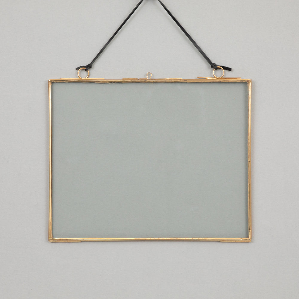 MADAM STOLTZ Hanging Glass Photo Frame in BRASS (25cm x 20cm)