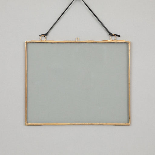 MADAM STOLTZ Hanging Glass Photo Frame in BRASS (18 x 13cm)