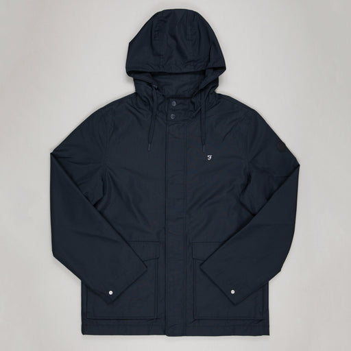 FARAH Higgs Hooded Coat in TRUE NAVY