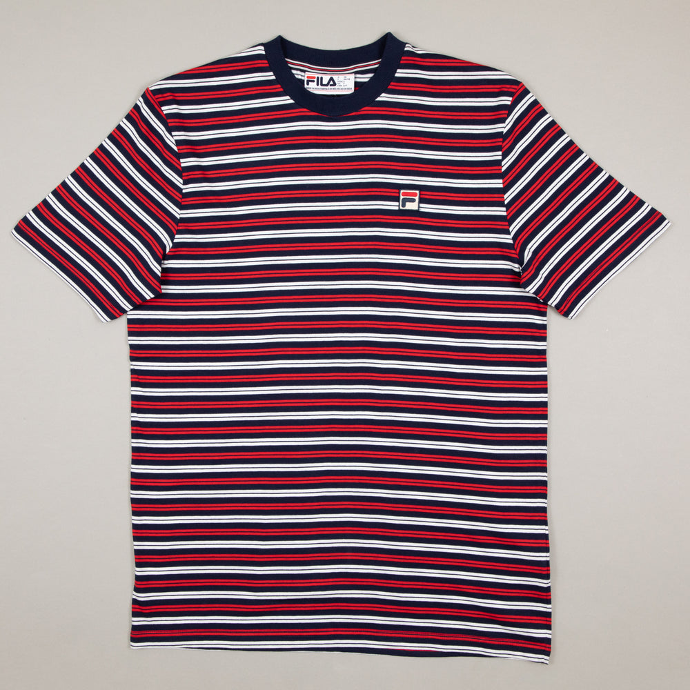 Hugh Yarn Dyed Stripe Tee in PEACOAT, WHITE & CHINESE REDFILA - CACTWS