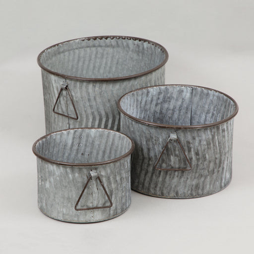 INDICA Metal Flower Pot Set of 3 in ZINC GREY