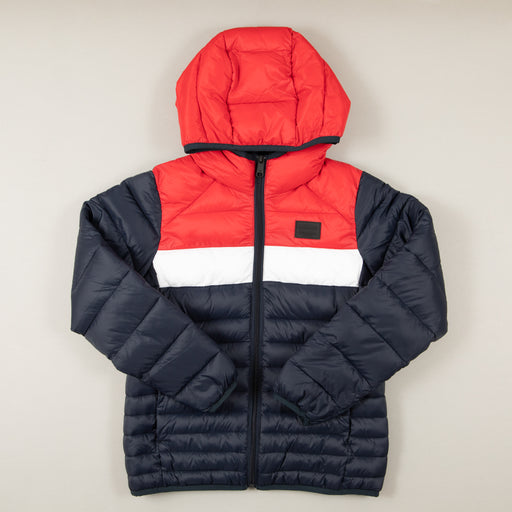 JUNIOR Bomb Puffer Boys Hood Jacket in SCARLETJACK & JONES JUNIOR - CACTWS