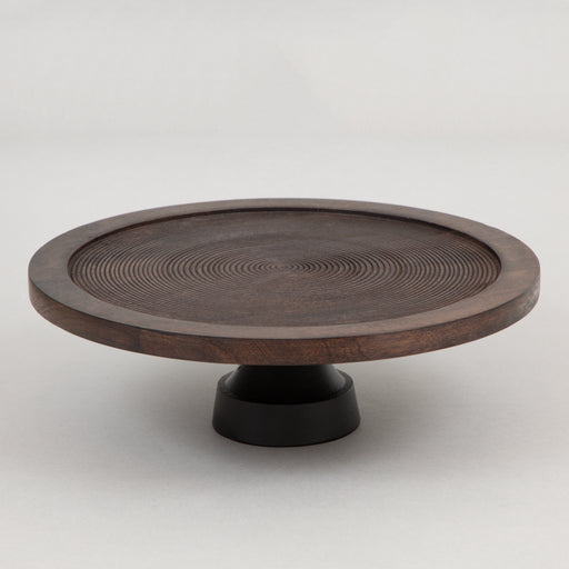 KAMUDI Small Wooden Dish On Base in BLACK/BROWN/BRONZE