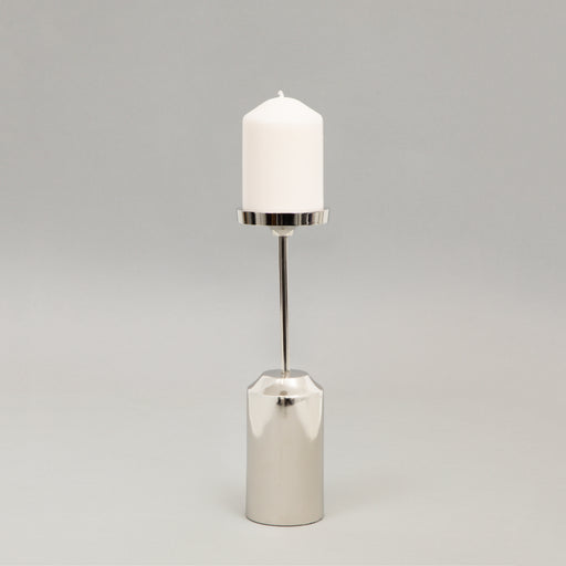 KIBOGA Nickel Pillar Candle Holder in SMALL