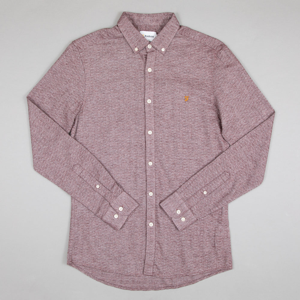 FARAH Kreo Slim Fit Shirt in FARAH BURGUNDY