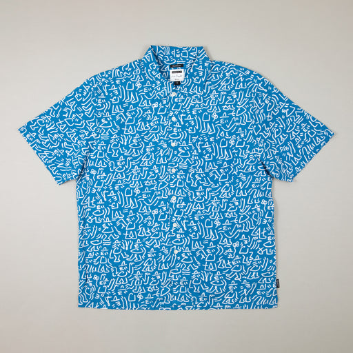LUCAS BEAUFORT Lovitz Short Sleeve Woven Shirt in ROYAL & WHITEBRIXTON - CACTWS