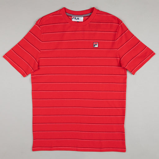 Leon Stripe Tee in CHINESE RED