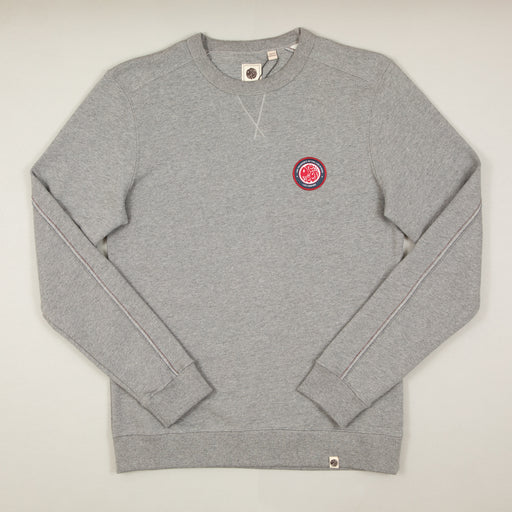 Likeminded Chest Badge Sweat in GREYPRETTY GREEN - CACTWS