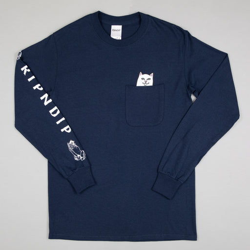 RIPNDIP Lord Nermal Long Sleeve T-Shirt in NAVY